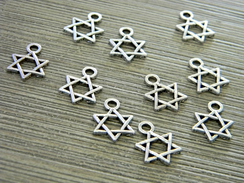 Star of David Charms Set of 10 Silver Color 14x10mm image 0