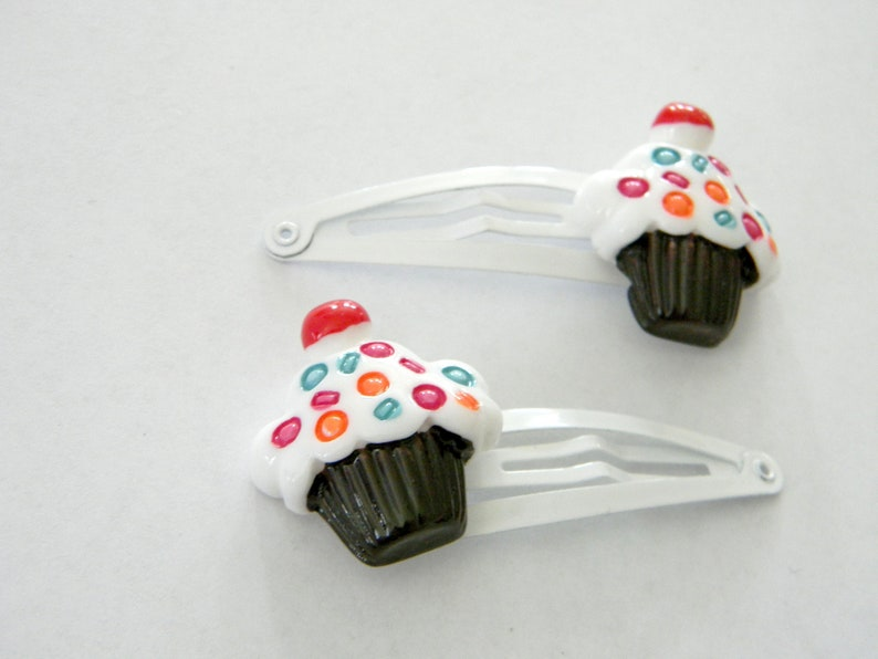 Cupcake Hair Clips Set of Two White Hair Clips Metal Snap image 0