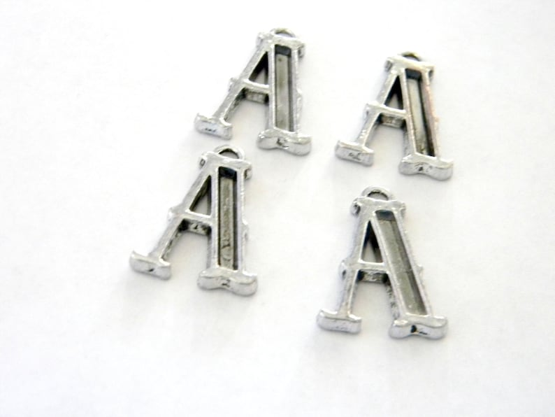 Letter A Charms Set of 4 Silver Color 26x17mm Initial Charm image 0