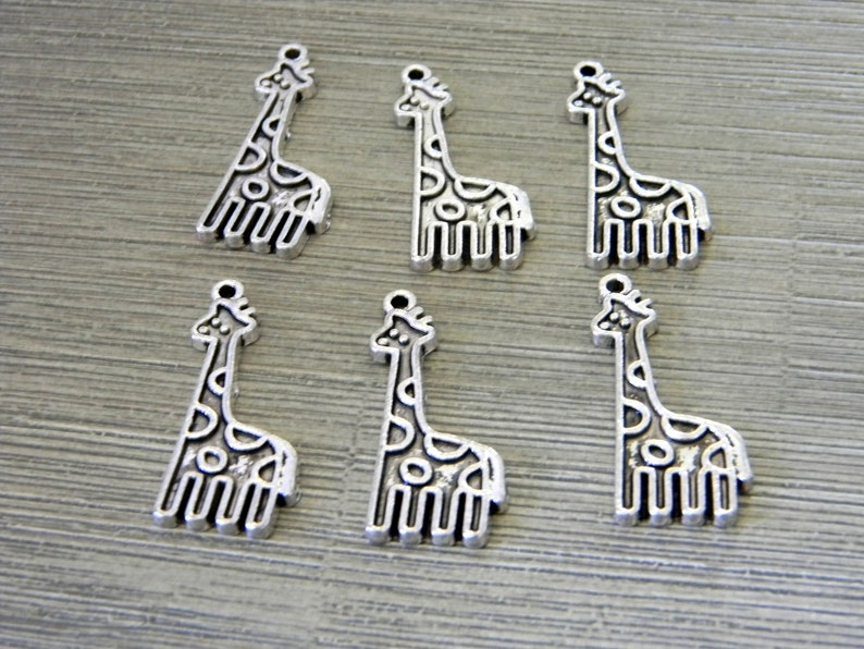 Giraffe Charms Set of 6 Silver Color 31x13mm image 0