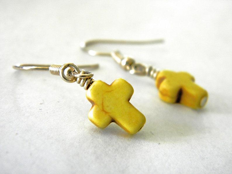 Small Yellow Stone Cross Earrings Howlite Earrings Dangle image 0