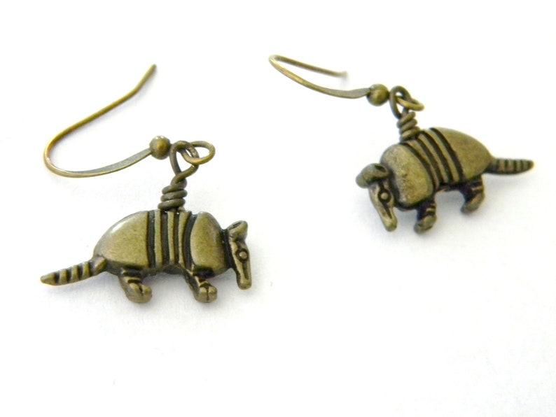 Armadillo Earrings Dangle Earrings Antique Bronze Armadillo image 0