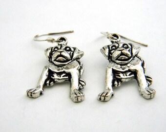 Puppy Dog Earrings Silver Color Dangle Earrings
