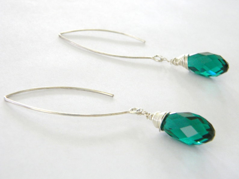 Green Crystal Drop Earrings Long V Wire Earrings image 0