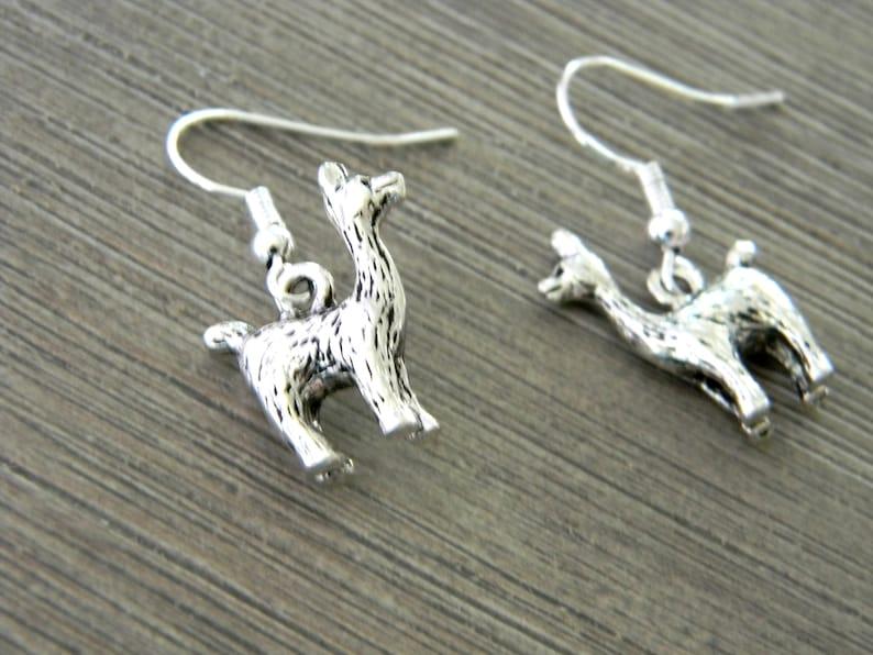 LLama Earrings Dangle Earrings Silver Color Llama Earrings image 0