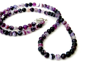Long Purple Agate Stone Necklace Toggle Clasp 30 Inch