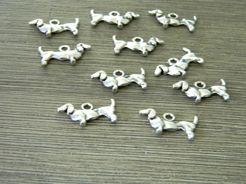 Dachshund Dog Charms Set of 10 Silver Color 19x9mm Double image 0