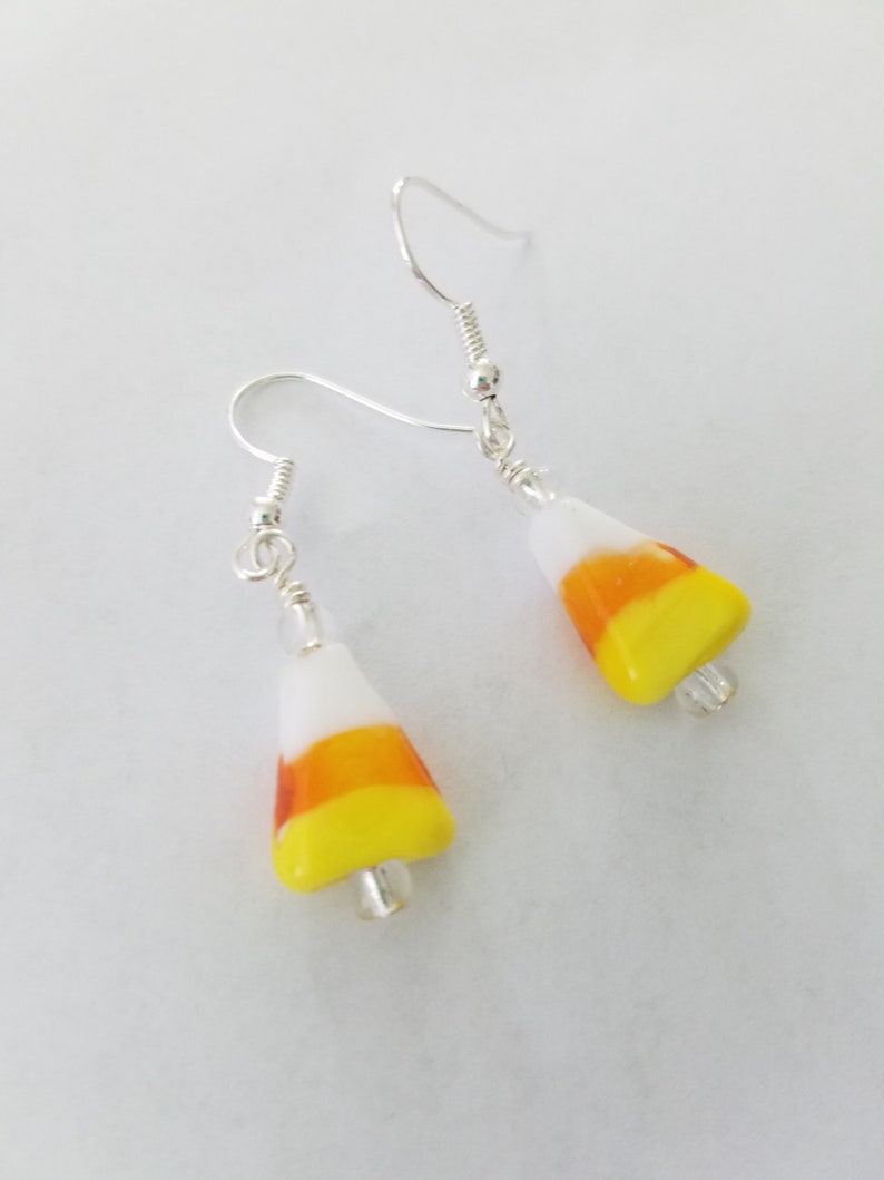 Candy Corn Glass Earrings Dangle Earrings Halloween Earrings image 0