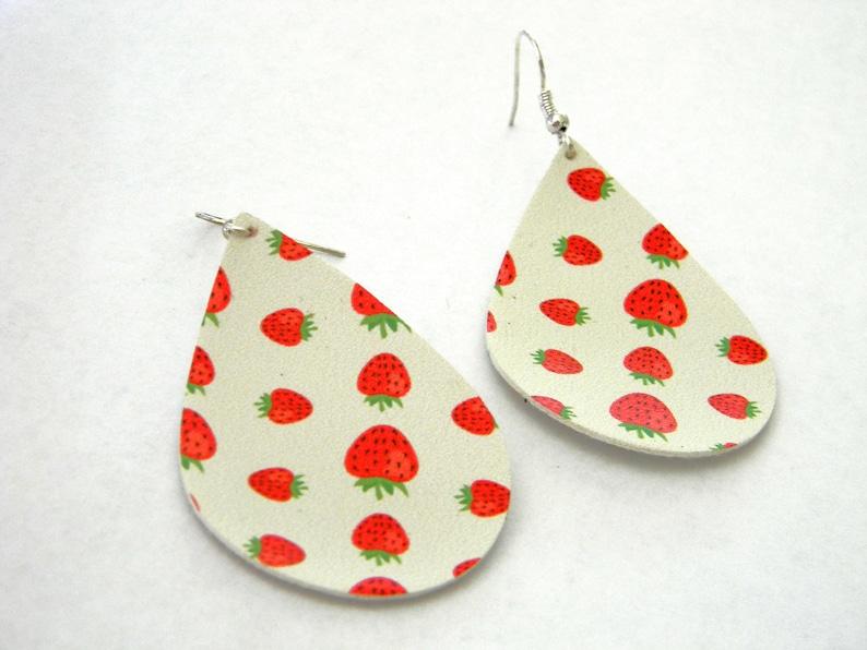 Strawberry Earrings Faux Leather Earrings Dangle Earrings image 0