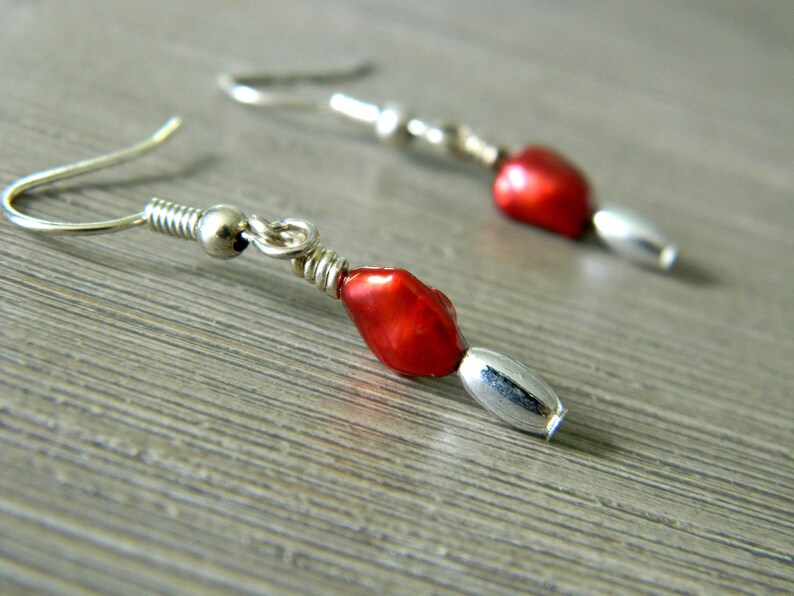 Red Pearl Earrings with Silver Beads Dangle Earrings Pearl image 0