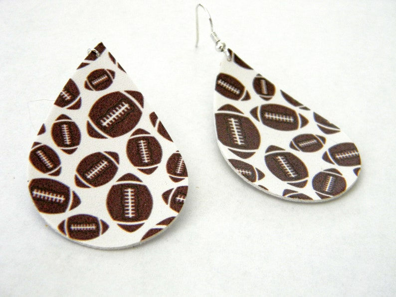Football Pattern Earrings Faux Leather Earrings Dangle image 0