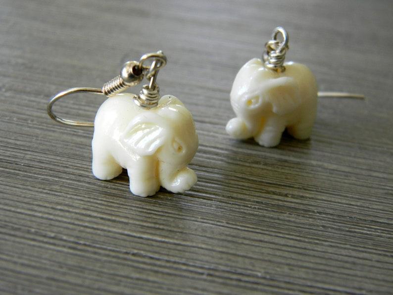 White Stone Elephant Earrings Dangle Earrings Three image 0