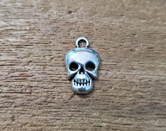 Human Skull Charms Set of 10 Silver Color