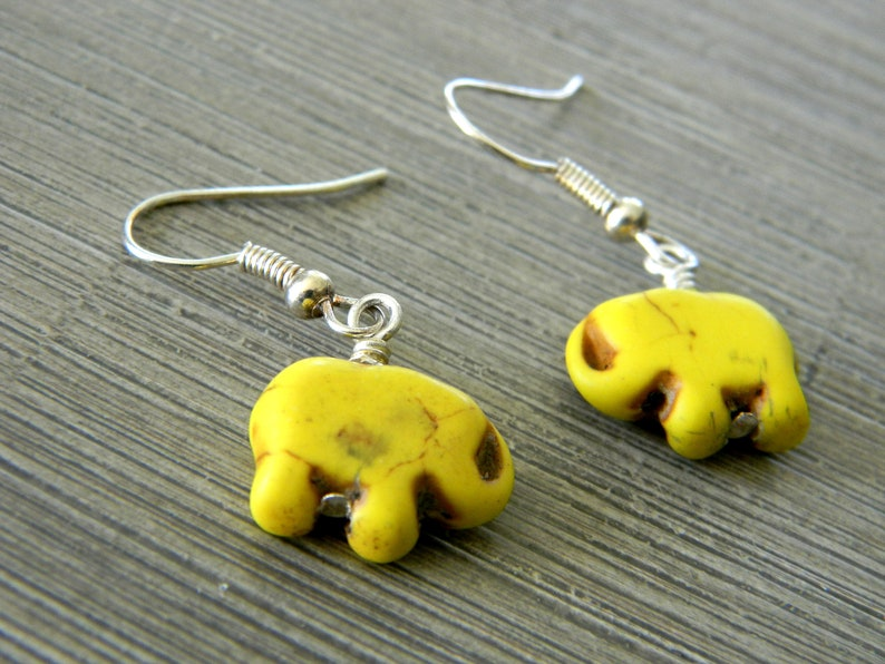 Yellow Elephant Dangle Earrings Stone Earrings Animal image 0