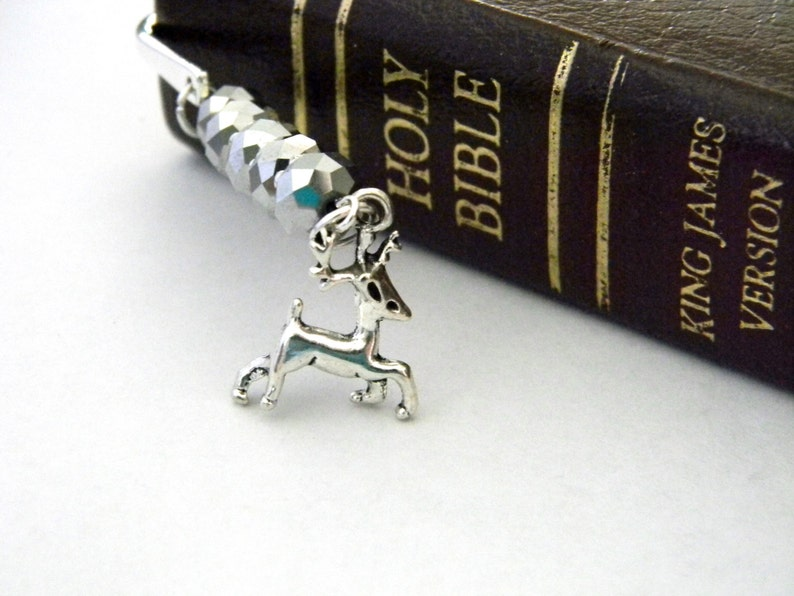 Reindeer Bookmark with Silver Sparkle Beads Silver Color image 0