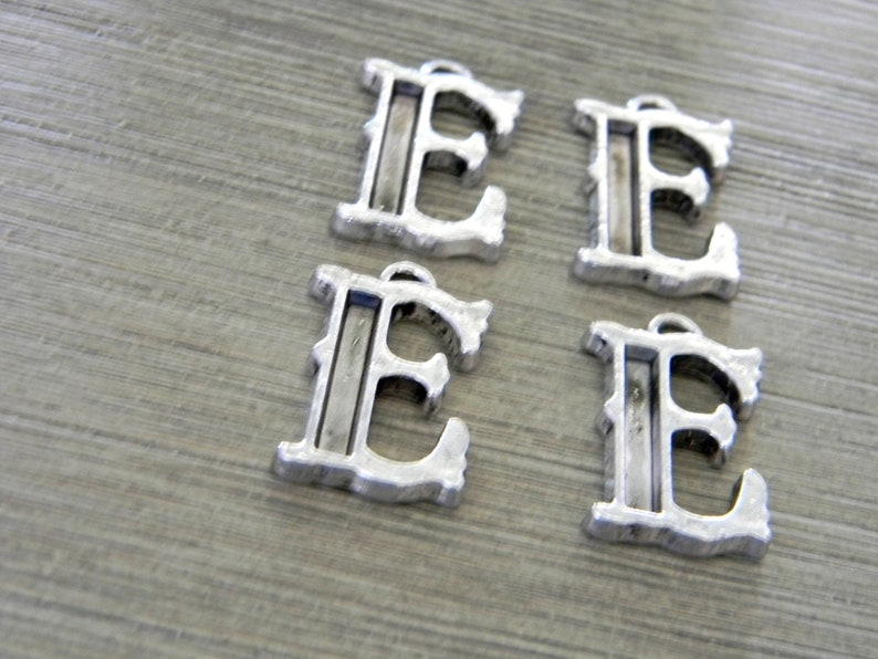 Letter E Charms Set of 4 Silver Color 26x15mm Initial Charm image 0