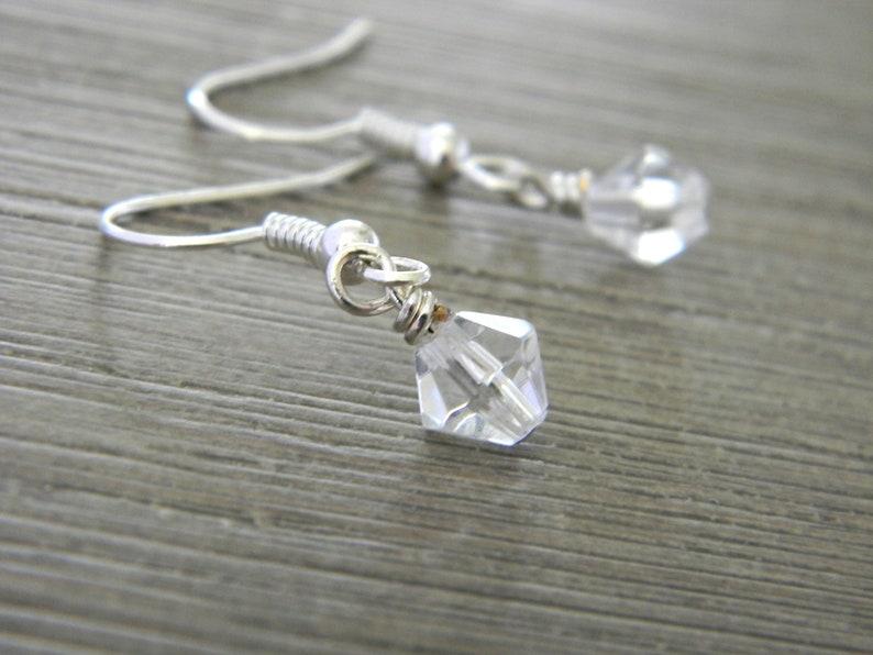 Clear Drop Earrings Bicone Glass Bead Earrings Simple Dangle image 0
