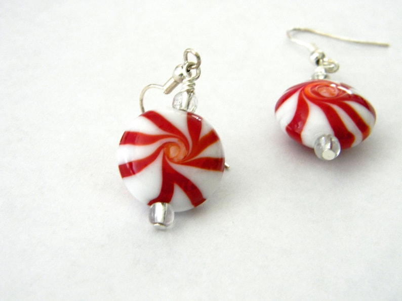 Peppermint Candy Lampwork Glass Earrings Dangle Earrings image 0