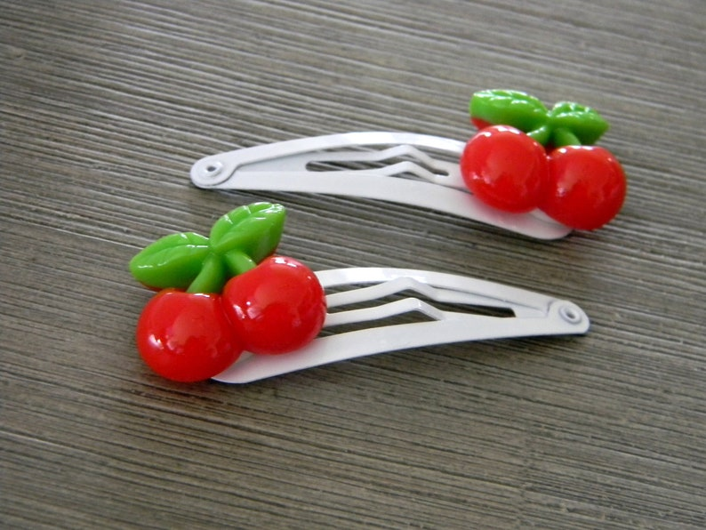 Red Cherry Hair Clips Set of Two White Hair Clips Metal Snap image 0