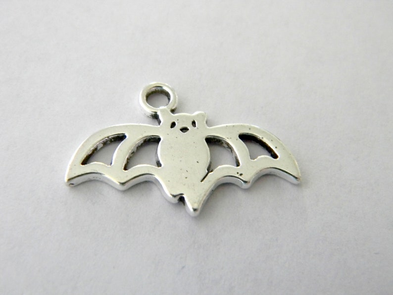 Bat Charms Silver Colored Set of 8 23x15mm Animal Charms image 0