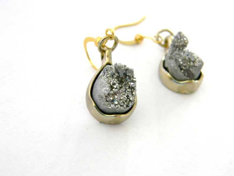 Silver Druzy Earrings Dangle Earrings Natural Stone Earrings image 0