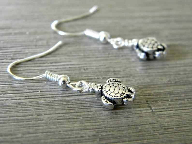 Small Silver Turtle Earrings Silver Color Dangle Earrings image 0