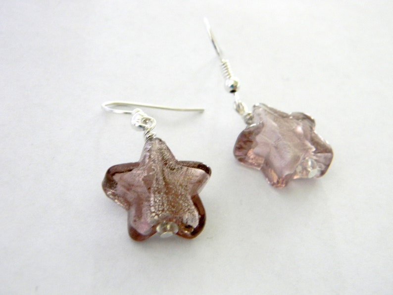 Light Purple Star Dangle Earrings Dichroic Glass Earrings image 0