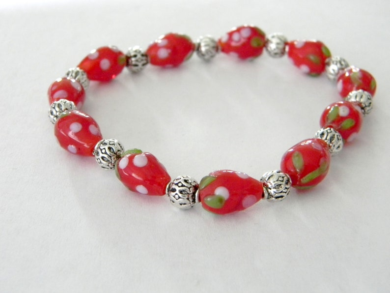 Strawberry Lampwork Glass Stretch Bracelet Red Fruit Bracelet image 0