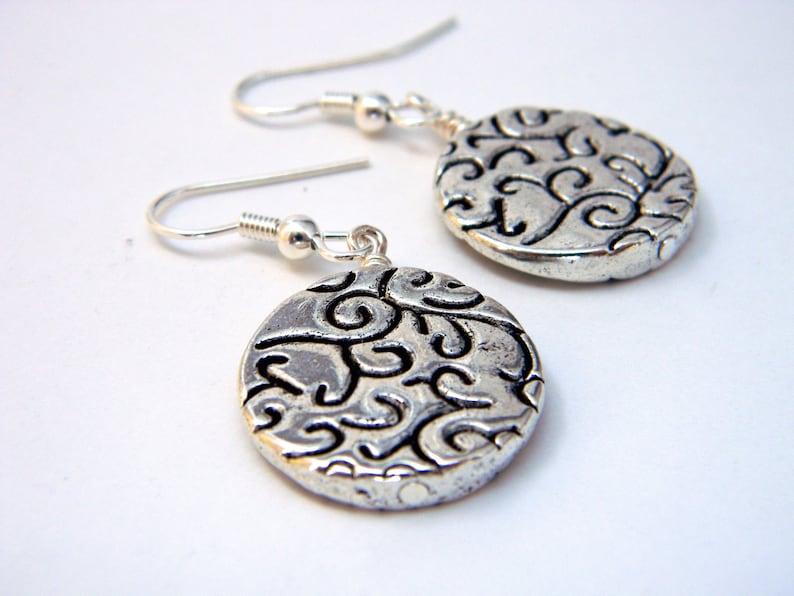 Silver Circle Earrings Dangle Earrings