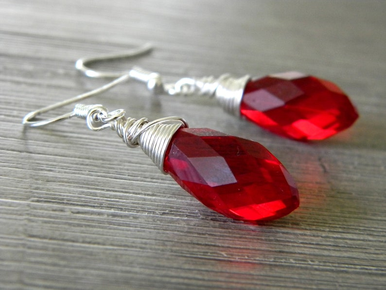 Red Glass Wire Wrapped Drop Earrings image 0