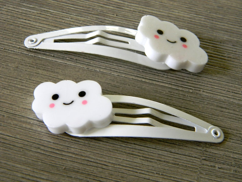 Happy Cloud Hair Clips Set of Two White Hair Clips Metal image 0