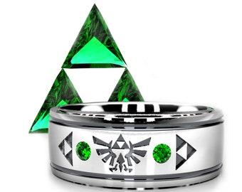 Legend of Zelda Inspired Geeky Wedding Ring - Triforce Emerald Ring