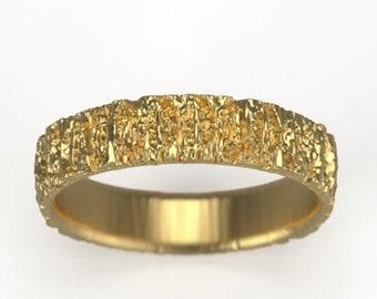 Rough Tree Bark Ring - Yellow Gold Unisex Wedding Band - Colorado Ring