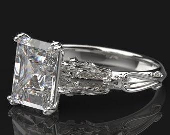 2 carat Moissanite Skull Engagement Ring - Alternative Gothic Engagement Ring