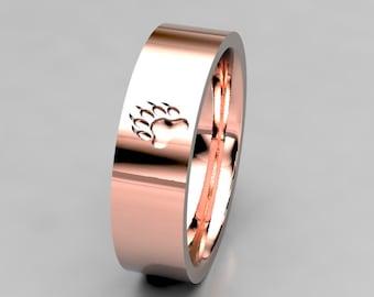 Bear Paw Print Ring, Mens or Womens 5mm Wide Brushed Rose Gold Wedding Band, 14k White Gold or Palladium, Size 10 Ring, Size 5 ring