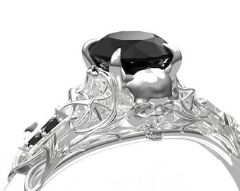 Art Nouveau Black Diamond Skull Engagement Ring - Alternative Gothic Engagement Ring