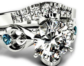 Galactic Empire & Rebel Alliance Star Wars Wedding Ring Set with 1 Carat Moissanite - Geeky Matching Wedding Ring Set
