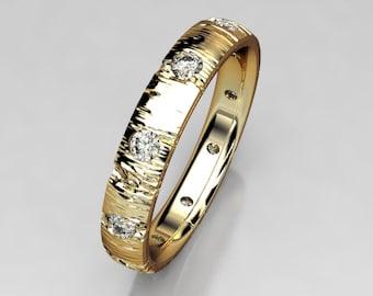 f94630790fb Aspen Tree Bark 10 Stone Eternity Wedding Band in Recycled Gold