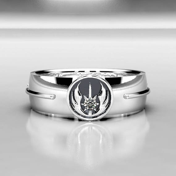 Star Wars Wedding Jedi Order Ring - Silver Ring with Diamond - Star Wars  Ring - Star Wars Jewelry - Geek & Nerdy Engagement Ring