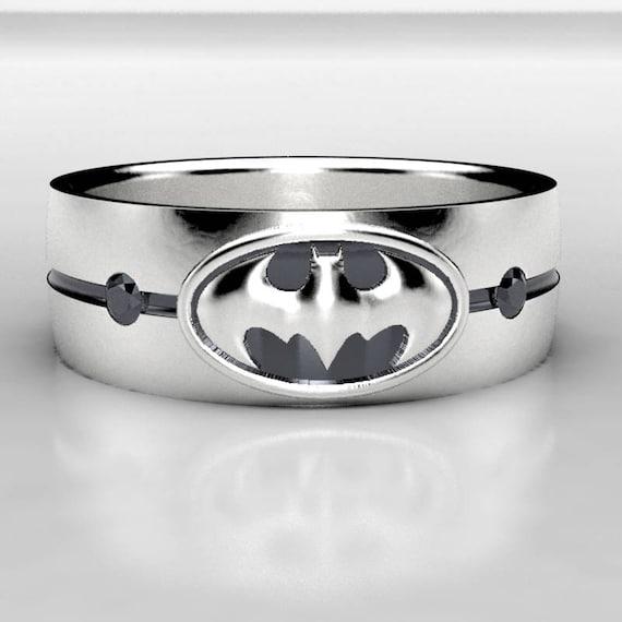 Batman Silver Black Diamond Wedding Ring Mens Batman Sterling Etsy