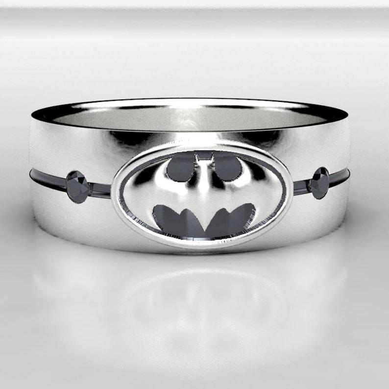 Black Diamond Wedding Band.Batman Silver Black Diamond Wedding Ring Mens Batman Sterling Silver Wedding Band Size 10 Ring Black Diamond Geek Wedding Band