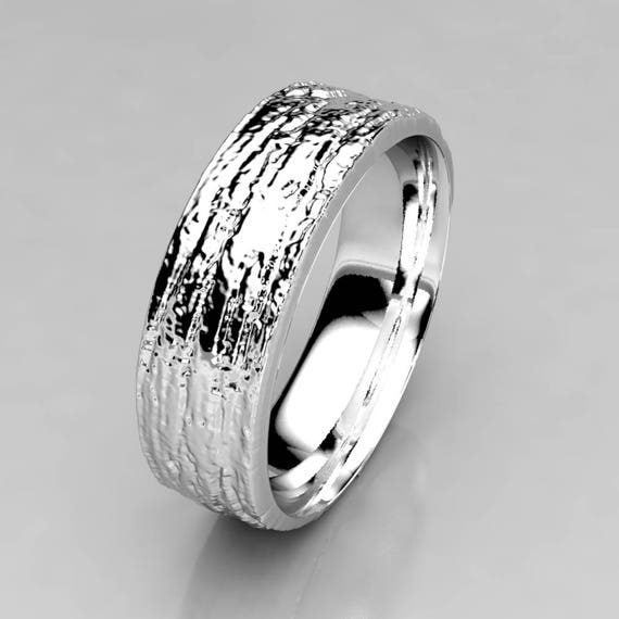 California Ring Bristlecone Tree Bark Wedding Band in Silver Palladium or gold of your choice 8mm Wide Wedding Band Wedding Band Wood
