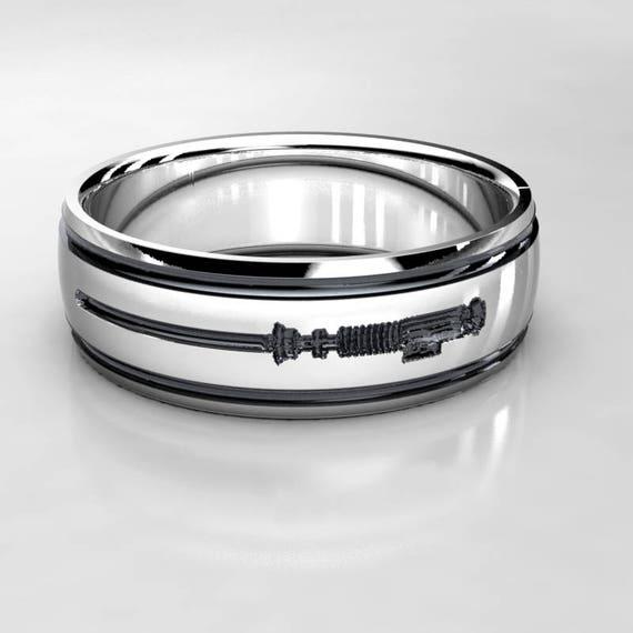 Star Wars Lightsaber Silver Wedding Ring Nerd Wedding Band Etsy