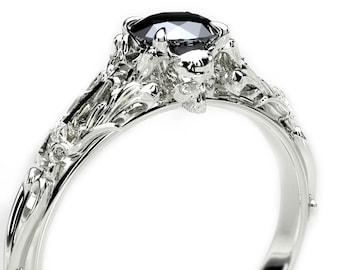 Edwardian Black Diamond Skull Engagement Ring - Alternative Gothic Engagement Ring