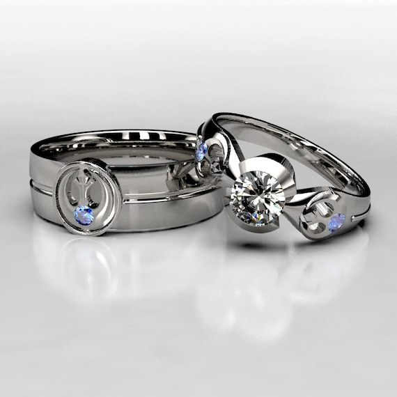 Star Wars Rebel Alliance Inspired Sapphire Wedding Ring Set Etsy