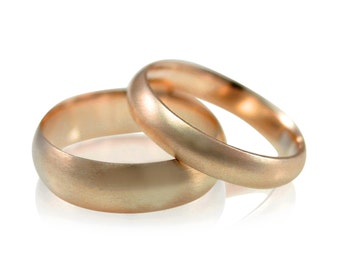 Rose Gold Wedding Band Set, Mens and Womens Brushed His and Hers Wedding Ring Set, Size 10 ring, size 9 ring, Brushed Gold Ring