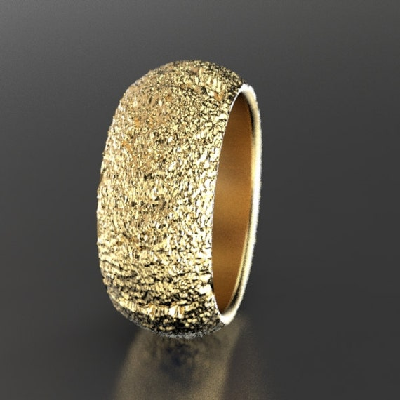 Redwood Tree Bark Wedding Ring In Recycled 10k 14k Or 18k Etsy