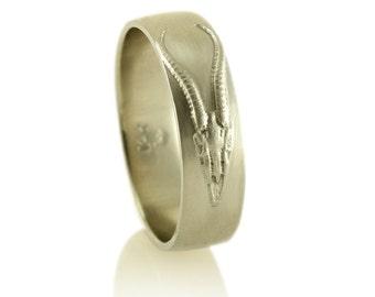 Antelope Skull White Gold Mens Wedding Band- Skull Ring - Skull Jewelry