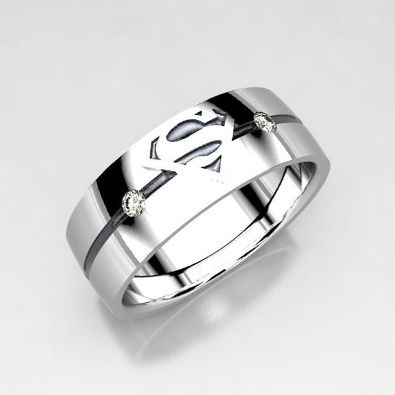 Superman Wedding Band: Superman Silver Wedding Band With Diamonds Size 9 Ring