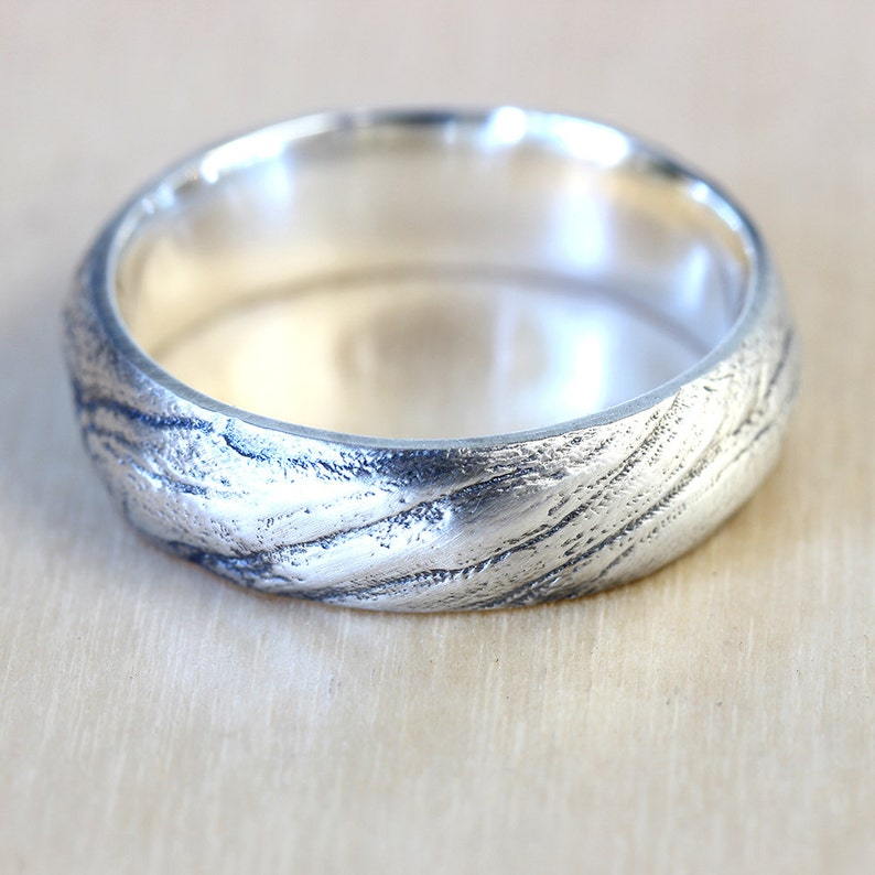 6mm Wide Wedding Band and Thin Wedding Band Wedding Ring Set California Ring Bristlecone Tree Bark Wedding Band Set in Recycled Silver